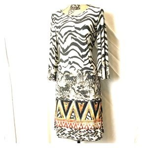 Fun animal & tribal print dress by Nina Leonard